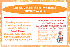 CCSD93 Special Education Parent Network Meeting on 1/17